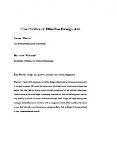 The Politics of Effective Foreign Aid