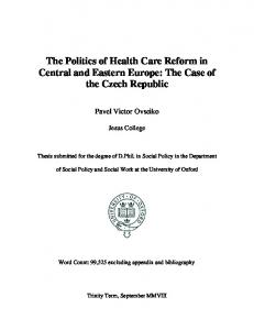 The Politics of Health Care Reform in Central and Eastern Europe ...