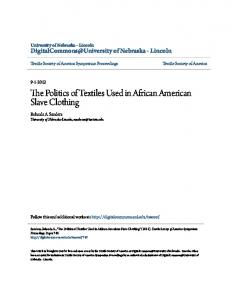 The Politics of Textiles Used in African American Slave Clothing