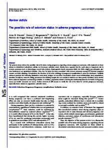 The possible role of selenium status in adverse pregnancy outcomes
