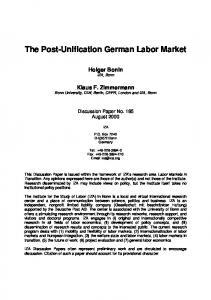 The Post-Unification German Labor Market - SSRN papers