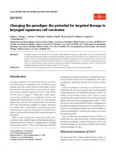 the potential for targeted therapy in laryngeal ... - Semantic Scholar