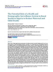 The Potential Role of a Health and Demographic Surveillance System ...