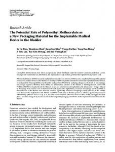 The Potential Role of Polymethyl Methacrylate as a New Packaging ...