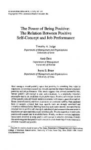 The Power of Being Positive: The Relation ... - Timothy A. Judge