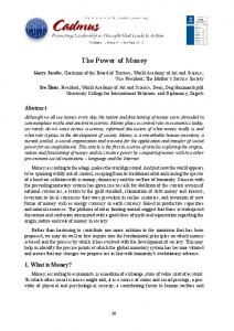 The Power of Money - Cadmus Journal