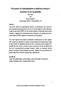 The power of rationalization to influence lawyers ... - SSRN papers