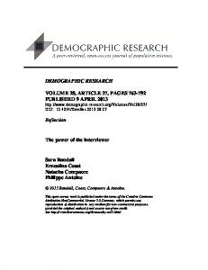 The power of the interviewer - Demographic Research