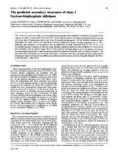 The predicted secondary structures of class I fructose ... - Europe PMC