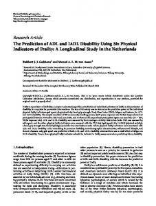 The Prediction of ADL and IADL Disability Using Six Physical ...