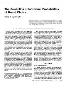 The Prediction of Individual Probabilities of Brand Choice