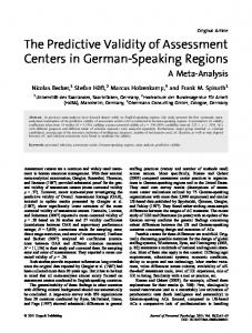 The Predictive Validity of Assessment Centers in ... - Hogrefe eContent