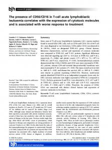 The presence of CD56/CD16 in T-cell acute ... - Wiley Online Library