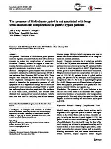 The presence of Helicobacter pylori is not associated ... - Springer Link