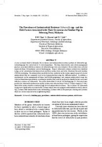 The Prevalence of Antimicrobial Resistant ... - Pertanika Journal