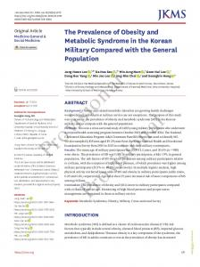 The Prevalence of Obesity and Metabolic Syndrome in the Korean ...