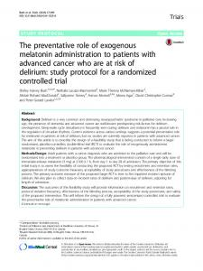 The preventative role of exogenous melatonin ...