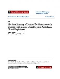 The Price Elasticity of Demand for Pharmaceuticals ... - Research Online