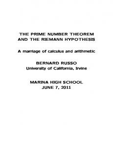 the prime number theorem and the riemann hypothesis