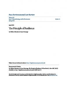 The Principle of Resilience - DigitalCommons@Pace - Pace University