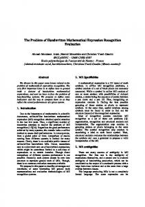 The Problem of Handwritten Mathematical ... - Semantic Scholar