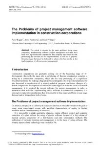 The Problems of project management software implementation in ...
