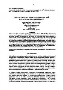 the processing strategy for the nf2 relational frc-interface - CiteSeerX