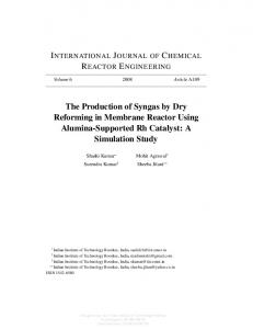 The Production of Syngas by Dry Reforming in Membrane Reactor ...