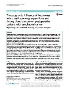 The prognostic influence of body mass index ... - Semantic Scholar