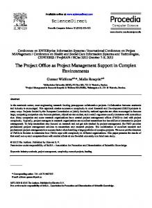 The Project Office as Project Management Support in ...