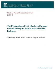 The Propagation of US Shocks to Canada ... - Banque du Canada
