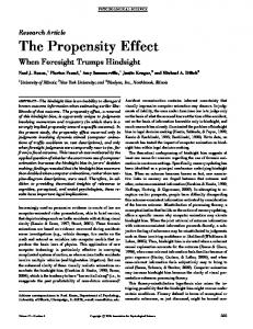 The Propensity Effect - SAGE Journals