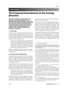 The Proposed Amendments to the Savings Directive