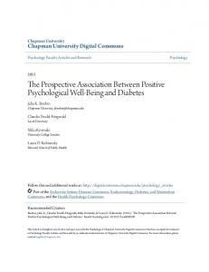 The Prospective Association Between Positive Psychological Well ...