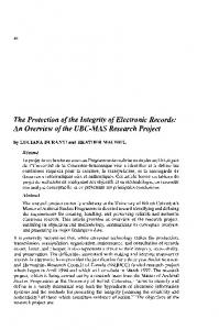 The Protection of the Integrity of Electronic Records: An ... - Archivaria