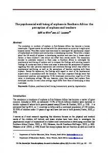 The psychosocial well-being of orphans in Southern Africa - CiteSeerX