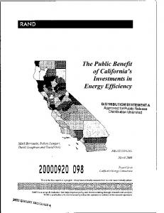 The Public Benefit of California's Investments in Energy Efficiency