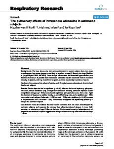 The pulmonary effects of intravenous adenosine in asthmatic subjects