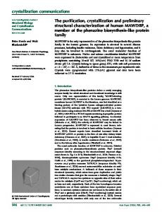 The purification, crystallization and preliminary ... - IUCr Journals