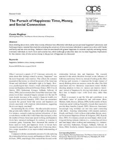The Pursuit of Happiness: Time, Money, and ... - Brown University