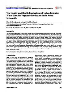 The Quality and Health Implications of Urban Irrigation Water Used for ...