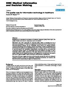The quality case for information technology in healthcare