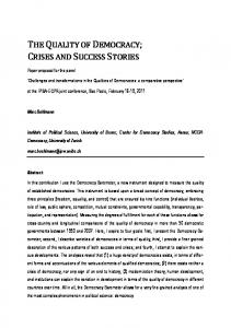 the quality of democracy; crises and success stories - IPSA Paper room