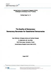 The Quality of Democracy: Democracy Barometer ... - NCCR Democracy