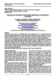 the quality of public transport services: a statistical analysis - UAMD