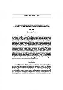 the quality of science in estonia, latvia, and lithuania after the first ...
