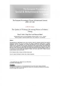 The Quality of Working Life among Nurses in ... - Future Academy