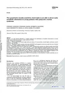The quantitative insulin sensitivity check index is not ...