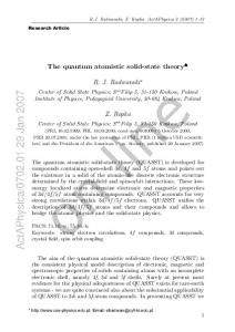 The quantum atomistic solid-state theory