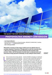 The quest for very high efficiency in Photovoltaic energy conversion